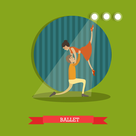 Vector illustration of dancing ballet couple. Ballet dancers male and female flat style design.