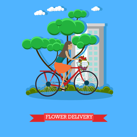 Flower delivery vector illustration in flat style