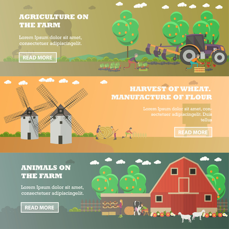 Vector set of farm horizontal banners in flat style Illustration