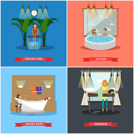 masseur: Vector set of spa therapy concept posters, banners. Fish bio peel, Jacuzzi, Aroma bath and Massage design elements in flat style. Illustration