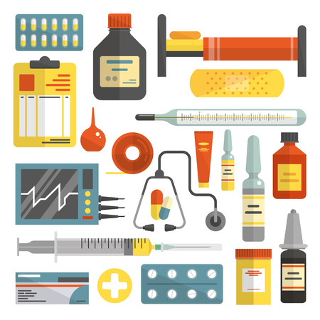 on white: Vector set of hospital and medical icons isolated on white background. Flat style design elements.