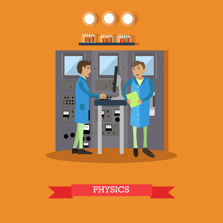 physicists: Physics research concept vector illustration in flat style. Physicists males carrying out experiment. laboratory interior with glassware and equipment. Illustration