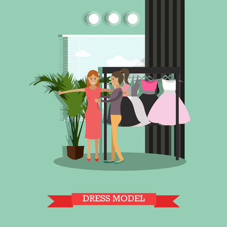 fitting: Dress model concept vector illustration. Clothing stylist and model girl trying on close-fitting trendy dress in flat style.