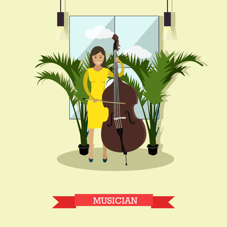 Vector illustration of musician female playing contrabass string musical instrument. Flat style design element. Illustration