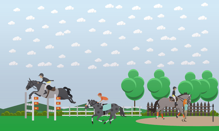Vector illustration of show jumper horse and rider jumping over hurdle. Equestrian show jumping, competition design element in flat style.