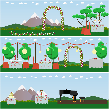 tiers: Vector set of outdoors wedding scenery posters, banners. Decorated wedding arch, tables and big cake with three tiers, piano for musicians flat style design elements.