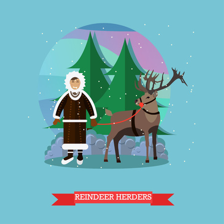 herder: Vector illustration of northern landscape with eskimo male and reindeer. Reindeer herder concept design element in flat style. Illustration