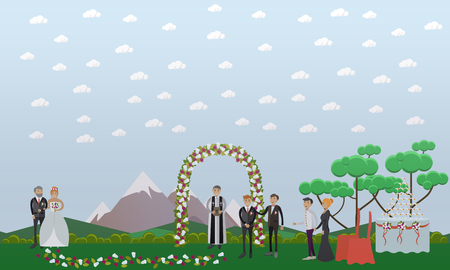 Vector illustration of bride and her father, groom and the best man, priest and guests. Wedding concept flat style design element.