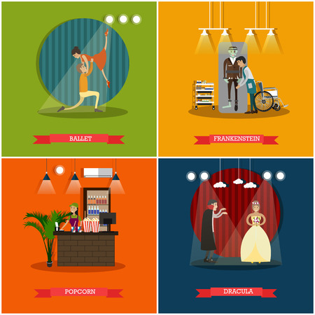 Vector set of cinema art concept posters, banners. Ballet, Frankenstein, Popcorn and Dracula flat style design elements. Stock Photo