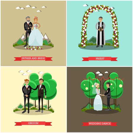 hymn: Vector set of wedding ceremony posters. Father and bride, Priest, Groom and Wedding dance flat style design elements.