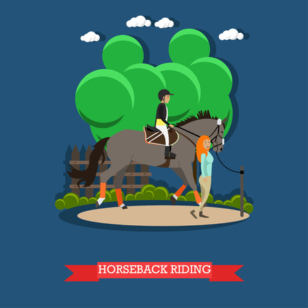 Vector illustration of boy riding gray horse with instructor young woman. Horseback riding concept design element in flat style.