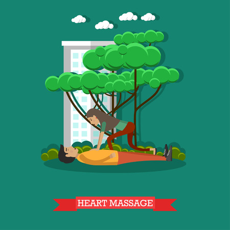 Vector illustration of woman applying first aid to lying on the ground man suffering from heart attack. Heart massage concept design element in flat style.