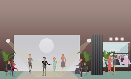 Vector illustration of fashion stylist male with models male and females walking down catwalk. Fashion show concept design element in flat style Illustration