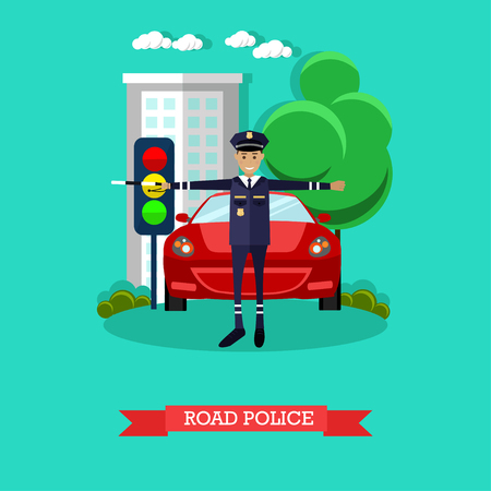 baton: Vector illustration of policeman with baton regulating street traffic. Road police concept design element in flat style. Illustration