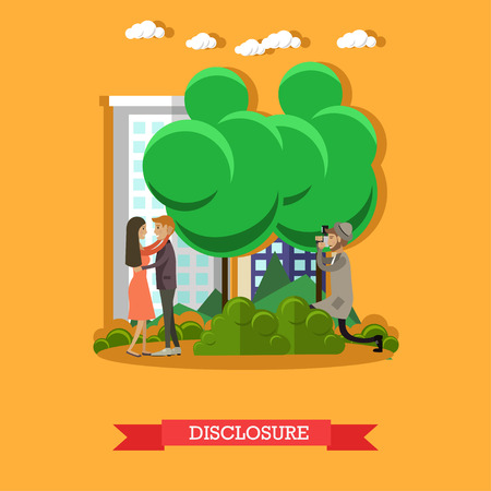 revelation: Vector illustration of detective observing young couple lovers closely and secretly and taking photos. Disclosure concept flat style design element. Illustration