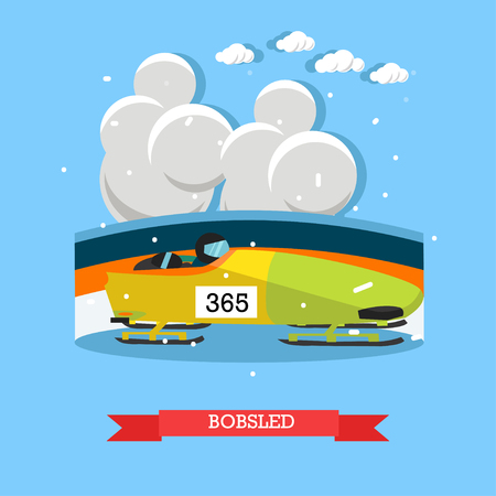 Bobsled concept vector illustration. Winter sports bobsleigh competition flat style design element.