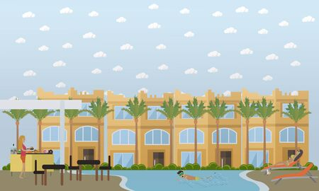 Vector illustration of hotel, egyptian resort on the beach with swimming pool, bar, lounge chairs, palm trees and tourists taking rest. Trip to Egypt concept flat style design element. Illustration