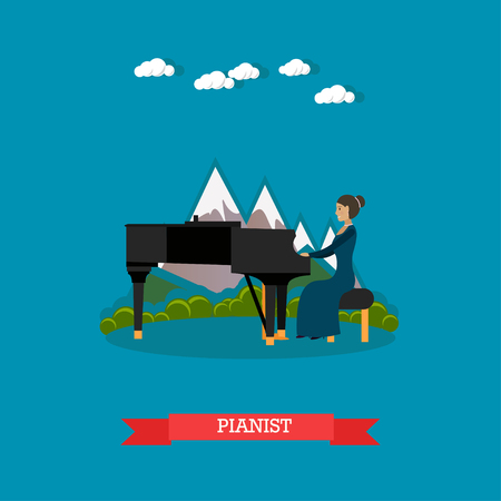 solo: Vector illustration of musician female playing piano. Pianist playing music on outdoors holiday event flat style design element.
