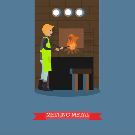 Vector illustration of foundry worker melting metal castings in furnace. Metalworking, founder concept design element in flat style. Illustration