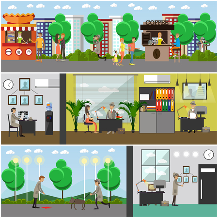 shadowing: Vector set of detective posters, banners. Private detective, enquiry agent working at office and outside flat style design elements. Illustration