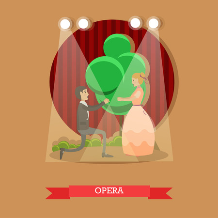 sexual pleasure: Vector illustration of young opera singers male and female acting on stage. Flat style design.
