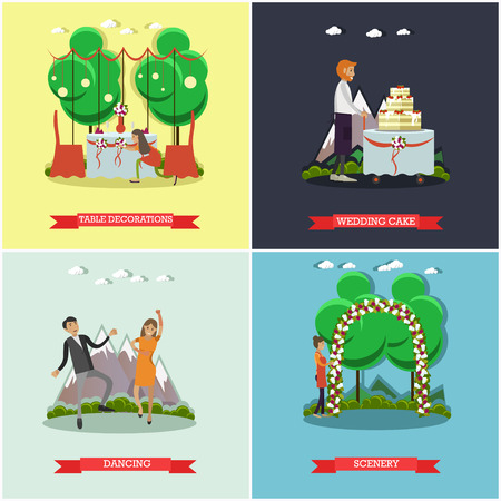 wedding reception decoration: Vector set of wedding posters. Table decorations, Wedding cake, Dancing and scenery flat style design elements.