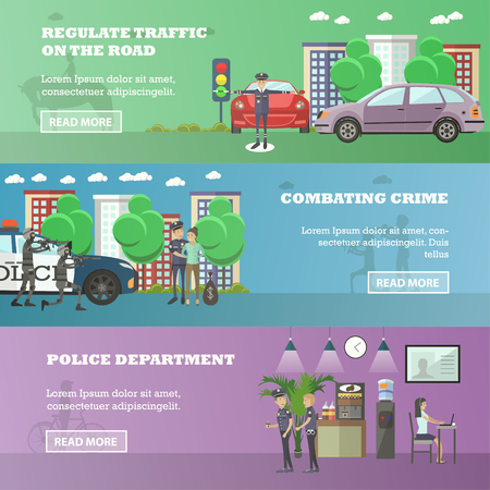 detain: Vector set of police horizontal banners. Regulate the traffic on the road, Combating crime and Police department concept design elements in flat style. Illustration