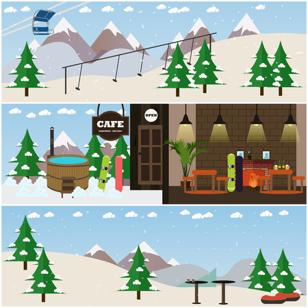 chairlift: Vector set of winter fun interior posters, banners. Ski resort with cafe, ski slope, chairlift and rope tow, vat. Flat style design elements.