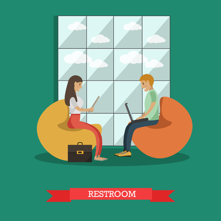chat room: Vector illustration of university or college students relaxing in common room. Young people sitting on bean bag chairs and using gadgets. Flat style design.