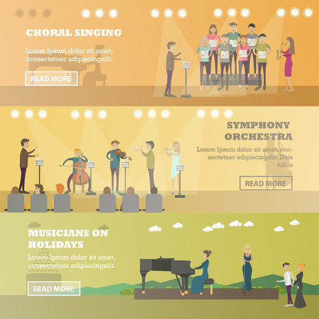choral: Vector set of music horizontal banners. Choral singing, Symphony orchestra and Musicians on holidays concept flat style design elements.