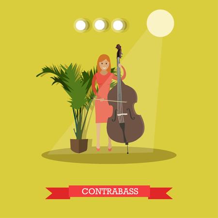 Illustration vectorielle de musicien jouant contrebasse. Jeune femme jouant la contrebasse chaîne instrument de musique plat style élément de design. Banque d'images - 74028393