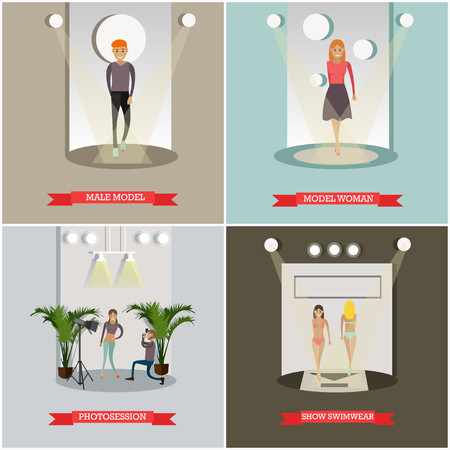 Vector set of fashion posters. Male model, Model woman, Photosession and Show swimwear design elements in flat style.