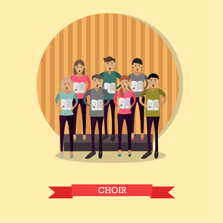 choral: Vector illustration of choir singing without accompaniment. Group of young singers male and female in flat style.