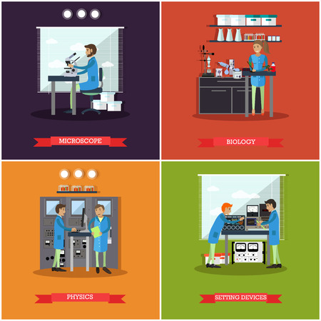 Vector set of research laboratories posters, banners. Microscope, Biology, Physics and Setting devices design elements in flat style. Illustration