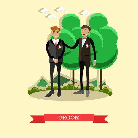 Vector Illustration of groom and the best man. Wedding concept design element in flat style. Çizim