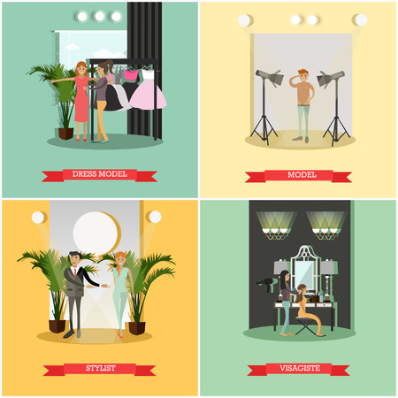 Vector set of podium concept posters. Dress model, Model, Stylist and Visagist flat style design elements. Illustration