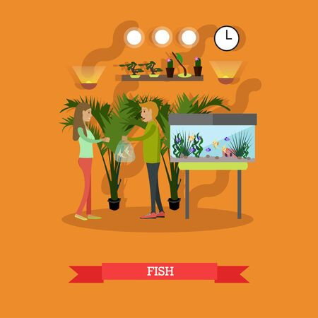 Vector illustration of woman buying tropical exotic fish. Pet shop interior. Flat style design elements. Illustration