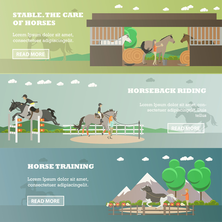 Vector set of riding horizontal banners. Stable. The care of horses, Horseback riding and Horse training flat style design elements. Illustration
