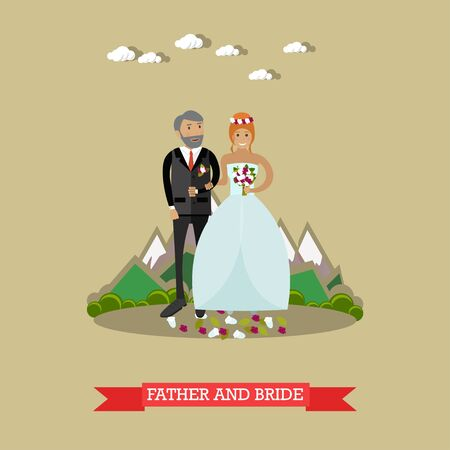 altar: Vector illustration of bride with her father. Wedding concept flat style design element. Illustration