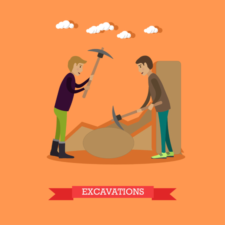 remains: Vector illustration of archaeologists working at archaeological site. Excavations concept design element in flat style.