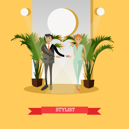 stylishly: Vector illustration of professional fashion designer male with model girl walking down catwalk. Fashion stylist concept design element in flat style