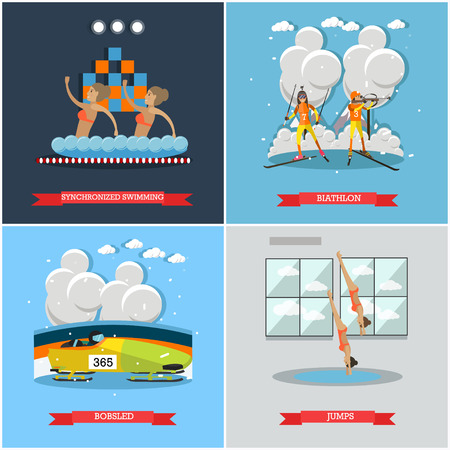 diving platform: Vector set of winter and water sports concept posters, banners. Synchronized swimming, Biathlon, Bobsled and Jumps into water concept flat style design elements. Illustration
