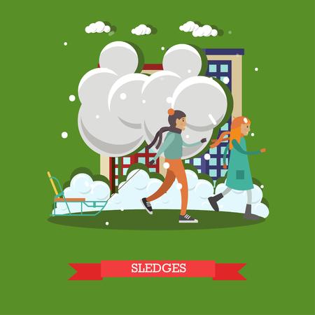 Vektorillustration von Kinderjungen und -mädchen mit Schlitten. Winterschneewetter, Schneefälle, sledging Konzeptgestaltungselement in der flachen Art.