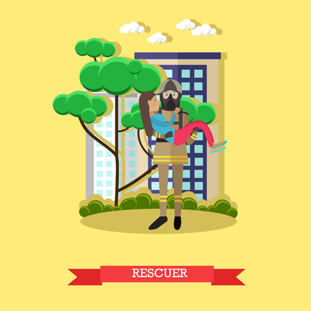 Vector illustration of fireman in protective clothing, helmet and mask carried out girl from burning house. Rescuer flat style design element. 向量圖像