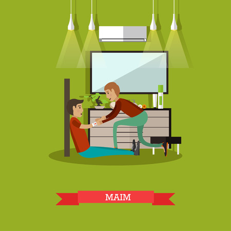 bandaging: Vector illustration of man bandaging injured arm of sitting on the floor man. First aid at home, maim concept design element in flat style. Illustration