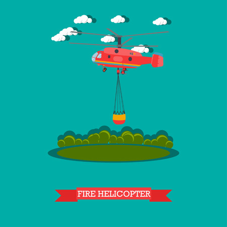 Vector illustration of red rescue firefighting aircraft in the air. Fire fighting helicopter design element in flat style. Illustration