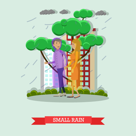torrential: Vector illustration of young couple walking in the rain in raincoats. Small rain flat style design. Illustration