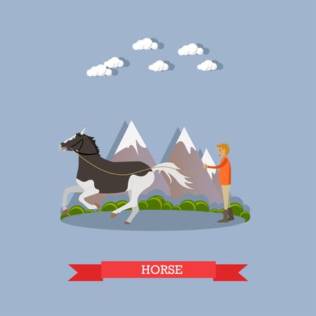 Vector illustration of man training beautiful piebald horse. Flat style design element.