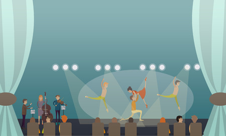 Vector illustration of dancing ballet performance. Ballet dancers males and female with musicians performing on stage flat style design. Illustration