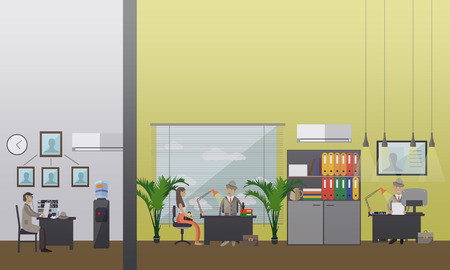 wiretapping: Vector illustration of private detectives working at office. Detective agency or office interior. Flat style design elements.